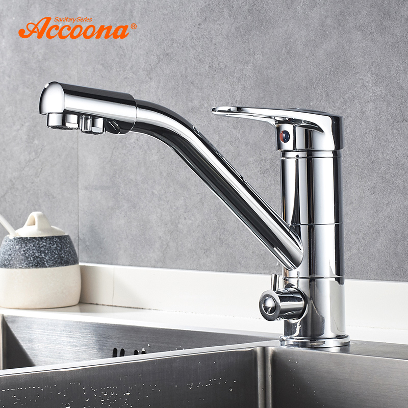 Accoona Kitchen Faucet 360 Degree Rotation with Water Purification Features Single Handle Double Hole Kitchen Faucets A5179-2 цена 2017