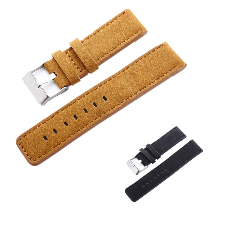 Original Luxury Causal 24mm Military Army Scrub Leather Watch Band Strap Alloy Buckle Wrist WatchBand For Watches Men цена
