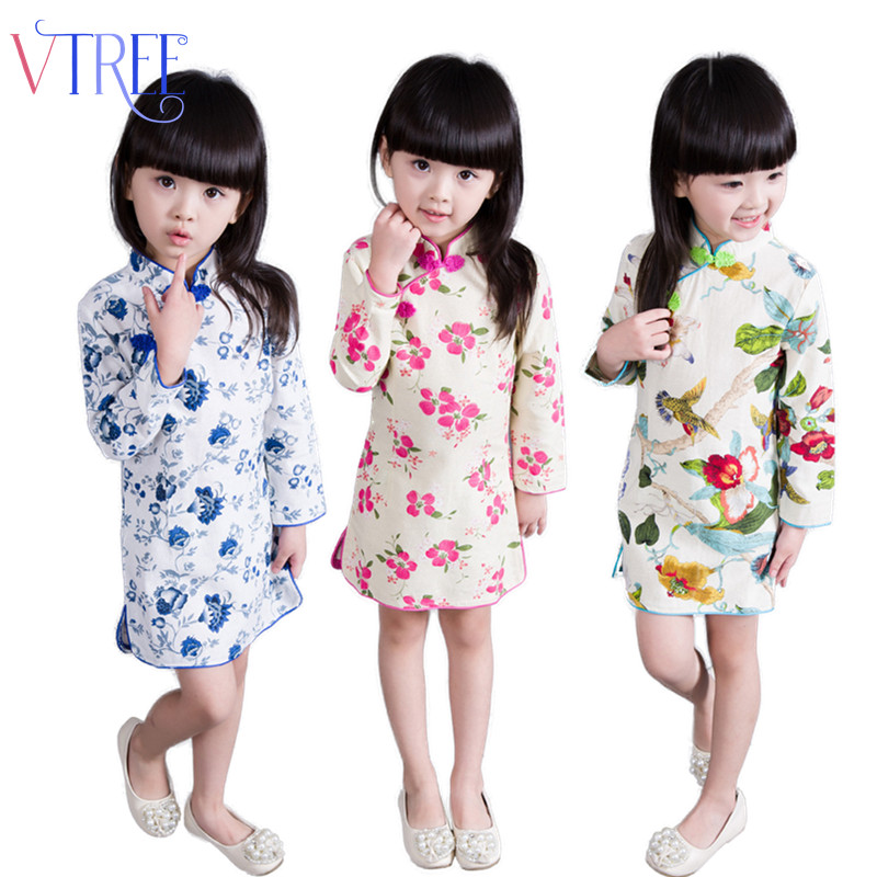 Baby girl Chinese style dress Autumn cotton chidren's long sleeve dress for kids girl traditional flower performance party dress dress coat traditional chinese style qipao full sleeve cheongsam costume party dress quilted princess dress cotton kids clothing