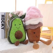 fruits and vegetables Toys Cute Stuffed Avocado Doll toy Plush Ice Cream Smile Snacks Mushroom Jelly Gift  toys for children new multiple styles selected fruits vegetables cauliflower mushroom blueberry starwberry 9 soft plush doll toy