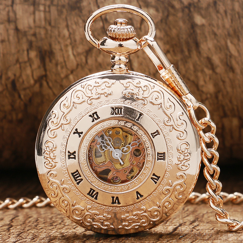 2019 Vintage Hollow Roman Numbers Skeleton Mechanical Hand-Wind Pocket Watch Montre Gousset With Chain Men Women Gift