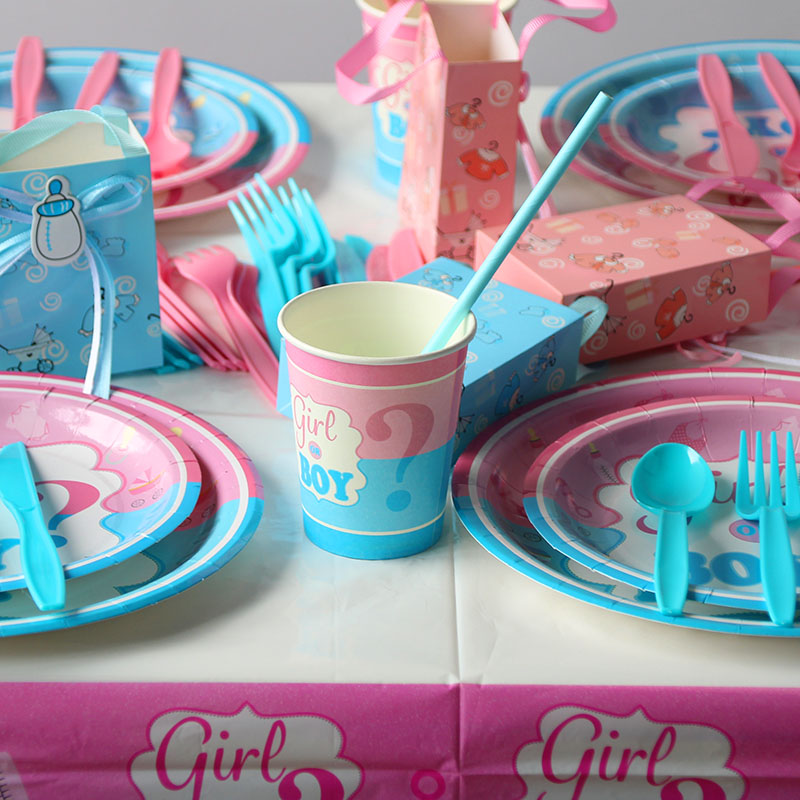 MEIDDING Gender Reveal Party Disposable Tableware Supplies Baby Shower It is a Boy It is a Girl Plate Napkin Balloons Decor in Party DIY Decorations from Home Garden