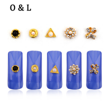 10pcs New Arrive Gold Alloy 3d Nail Art Decorations Mix Designs Pearls Nail Accessories DIY Manicure Tools