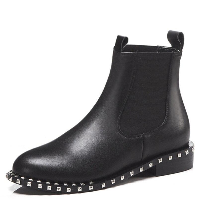 Chaussures Nouvelles Chaud En Moto Casual Haute Genou Conasco Véritable Boots Hauts Rond Rivet Bout Talons Bottes Femmes High Black Hiver Automne Short Femme Boots Cuir black Uwpdzq