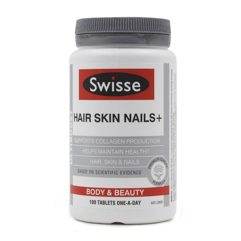 Hair Skin Nails+ 100 Tablets to Assist in the Maintenance of Healthy Hair, Skin and Nails Free shipping