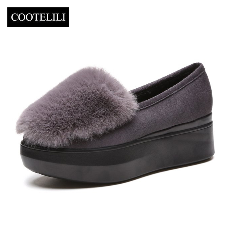 COOTELILI Winter Women Shoes Loafers Plus Size Creepers Flat Platform Fleece Shoes Slip On Flat Fur Shoes For Female Moccasins dropshipping women flats shoes slip on with fur pointed toe winter oxfords shoes for women loafers shoes plus size 41 42 43
