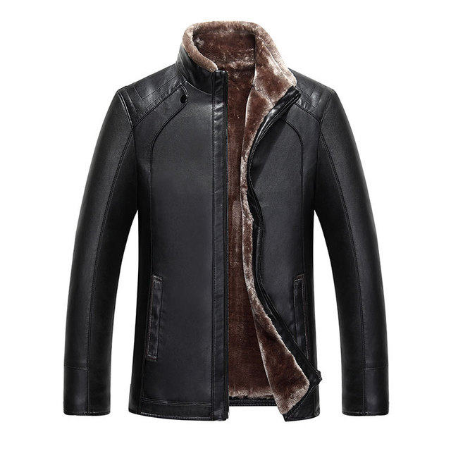 2016 new artificial leather suede men's stand collar sheep leather fur coat thick Faux leather jacket fleece winter overcoat