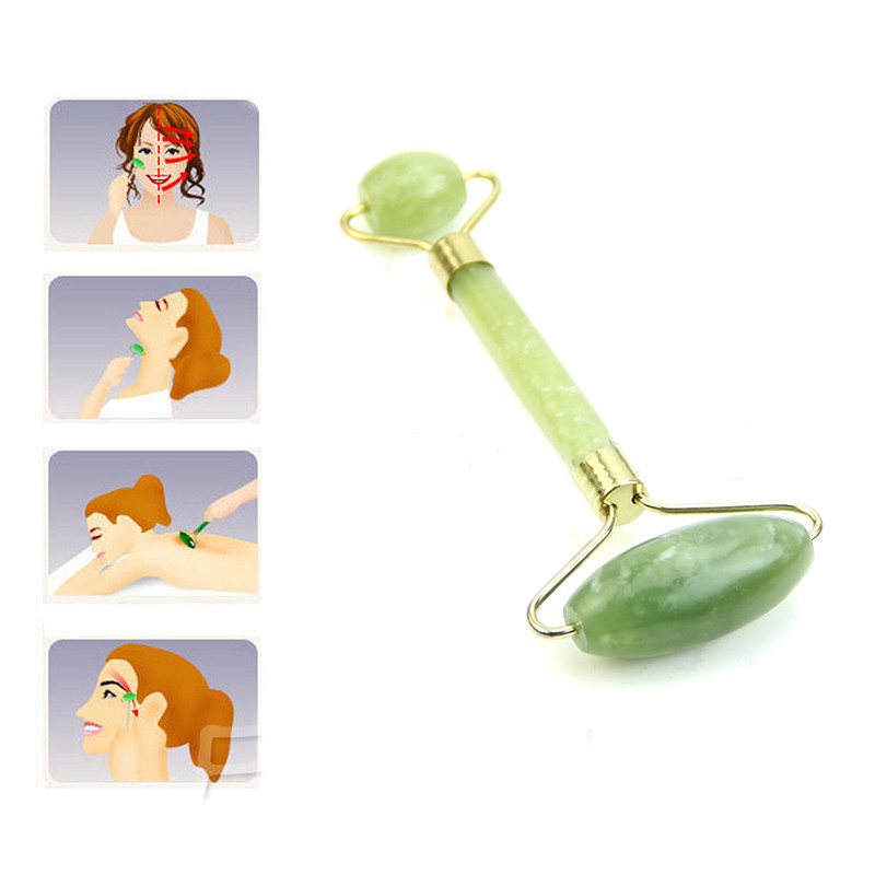 Natural Double Head Facial Massage Roller jade Beauty Tool
