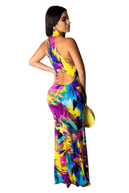 Sexy Women's Long and Elegant  Multicolor Sleeveless  Party Dress