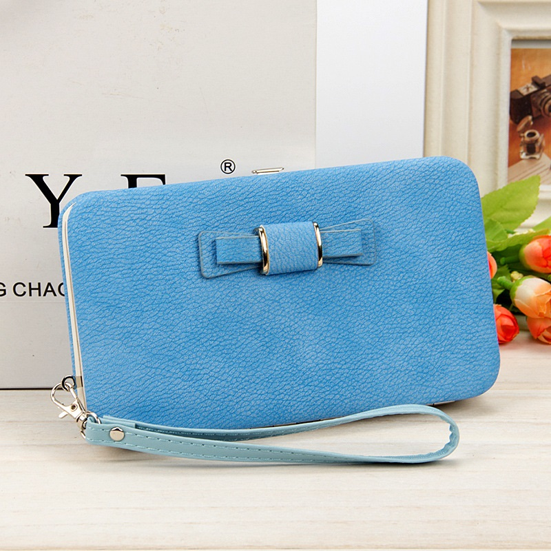 Fashion Bow knot Women Long Clutch Square Coin Purses 6 inch Phone wallet Card Bag Female Low cost Wholesale Package in Coin Purses from Luggage Bags