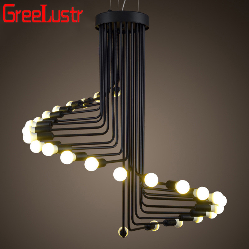 American Industrial Retro Pendant Lights Loft Iron Droplight Edison LED Bulb Lamps Black Spiral Light E14 Lighting Decoration