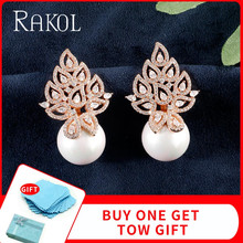RAKOL Imitation Pearl Leaf Collection Full Micro Cubic Zirconia Pave Women Bridal Engagement Earring Jewelry Addiction RE622905