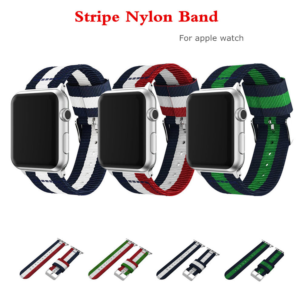 Stripe nylon strap watch band for apple watch 3/2/1 42mm/38mm bracelet wrist belt woven nylon watchband for iwatch accessories