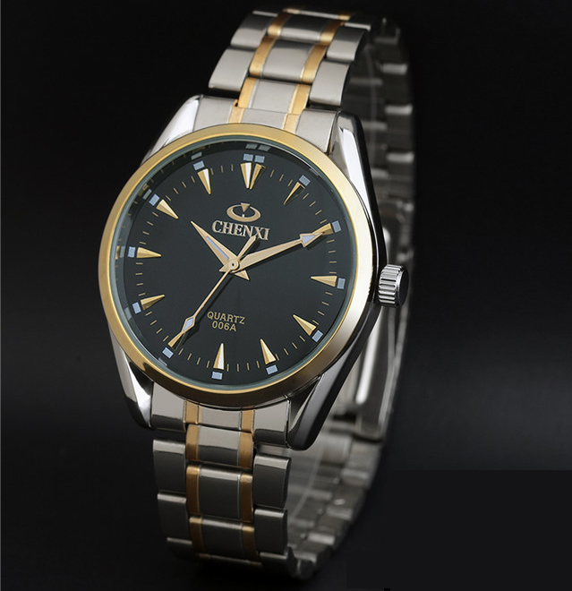 2017 Classical Stainless Steel Waterproof Men Watch Black And Gold Formal High Quality Quartz Wrist Clock