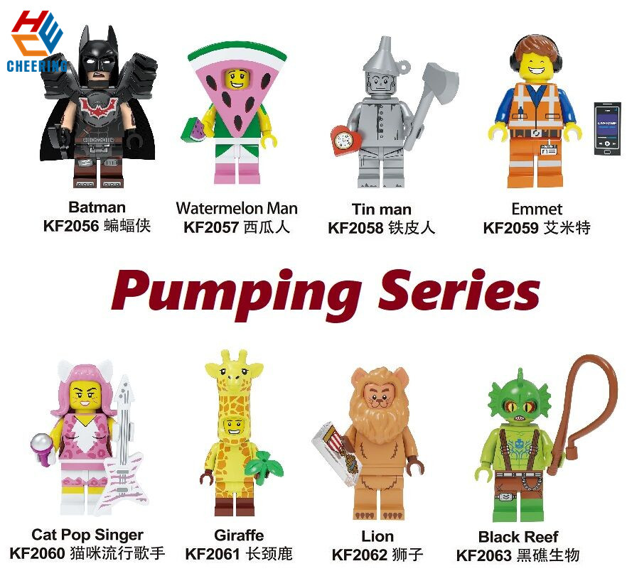 Single Sale Building Bricks Blocks Puming Series Batman Watermelon Tin Man Emmet Cat Pop Singer Figures Toys For Children KF8042