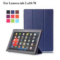 Para Lenovo Tab2 A10 70 caso cubierta Tablet para Lenovo Tab 2 A A10-70 A10-70F A10-70L Tablet 10,1 PU Funda de cuero + película + Stylus Pen