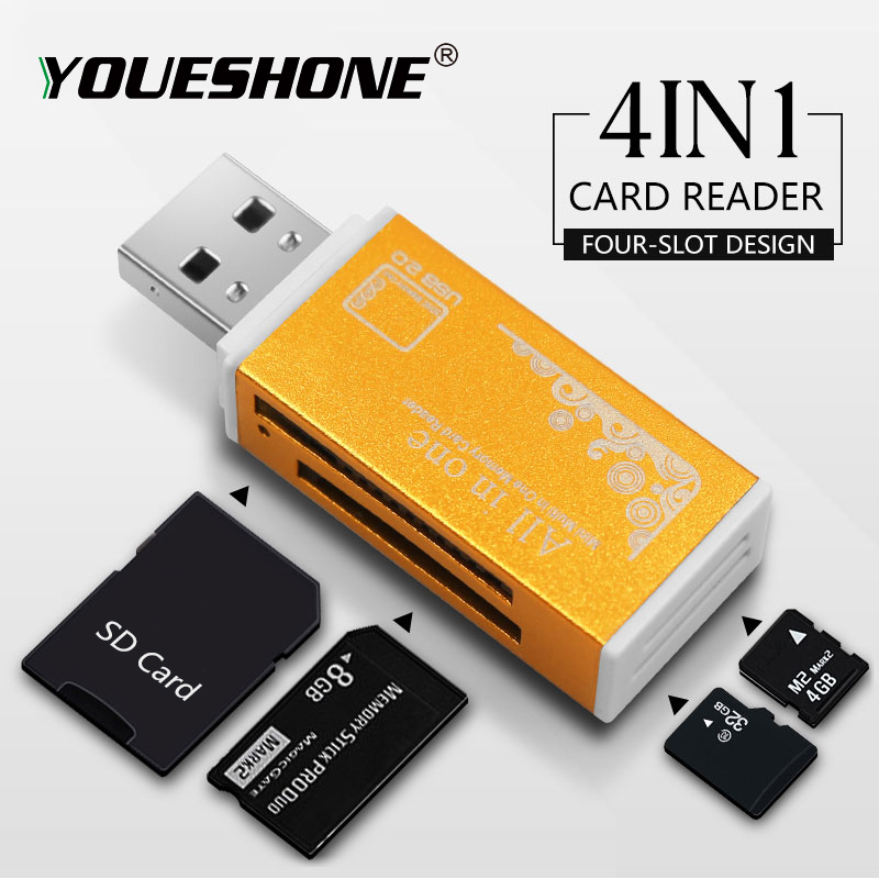 Compact Mini USB 2.0 Multi for MS PRO Duo SDHC Memory Card Reader TF//M2//MMC All in 1 Micro SD for Mac Windows,