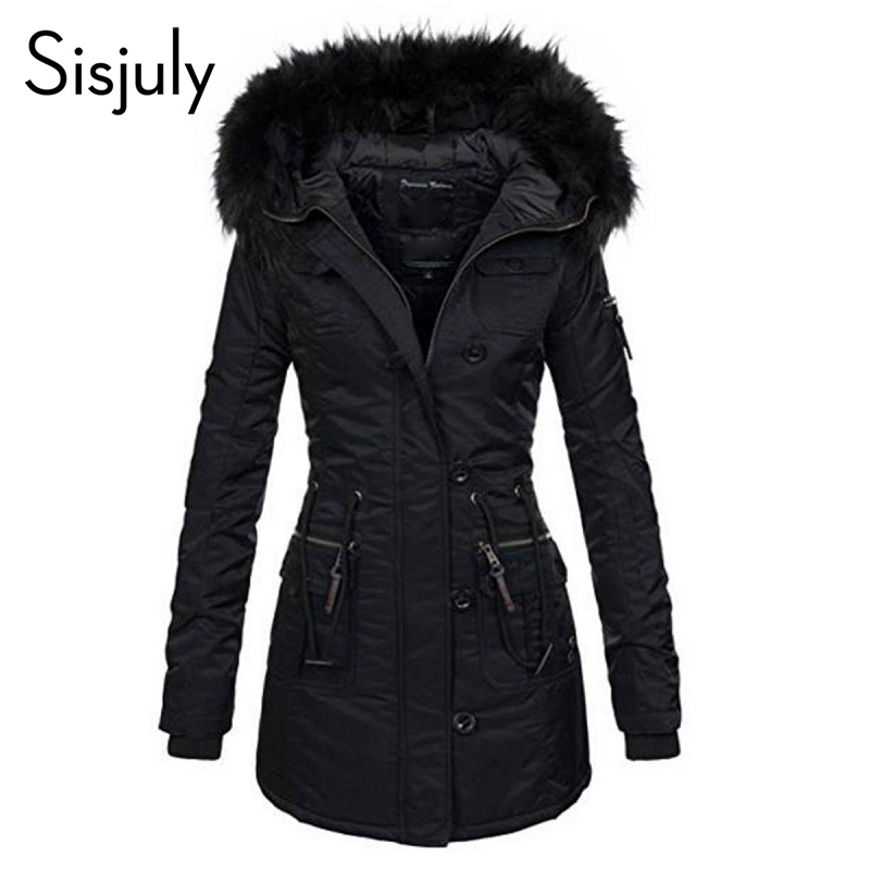 Sisjuly Long Sleeve Black Hooded Women   Trench   Coat Thick Slim Pocket Winter Overcoat Warm Casual Button Female Coat With Fur