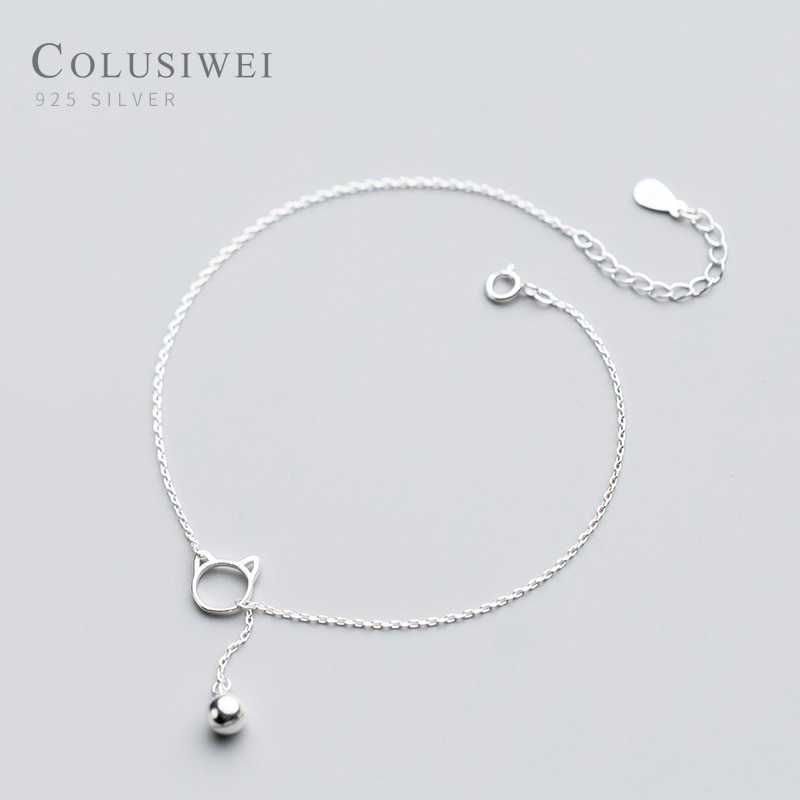 Colusiwei Kitty and Bell Silver Anklet for Women Sterling Silver 925 Bracelet for Ankle and Leg Fashion Foot Fine Jewelry Gift