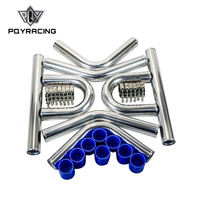 PQY 2.5' '63mm TURBO INTERCOOLER PIPE 2.5 L=600MM CHROME ALUMINUM PIPING PIPE TUBE+T CLAMPS+ SILICONE HOSES BLUE 1718