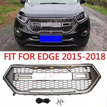 цена на CAR ACCESSORIES LED MODIFIED FRONT RACING GRILLS ABS GRILL MESH RAPTOR GRILLE MASK TRIMS COVER FIT FOR EDGE 2015-2018 AUTO PARTS