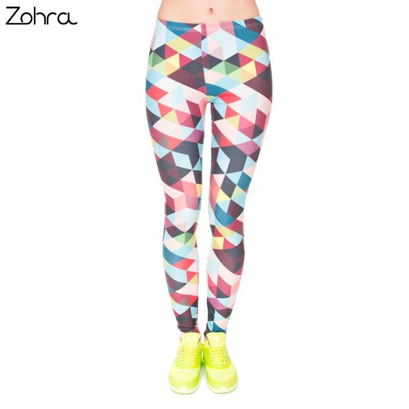 Zohra Brand Women Colour Geometry Printing Legging High Elastic Fitness Legging Trousers LeggingsWomen Pants