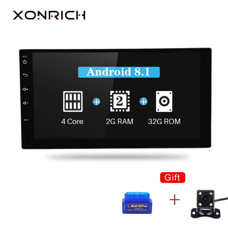 "Xonrich Quad Core 7"" 2 Din Android 8.1 Car NO-DVD Multimedia Player 1024*600 Universal GPS Navigation Autoradio Audio For Nissan"