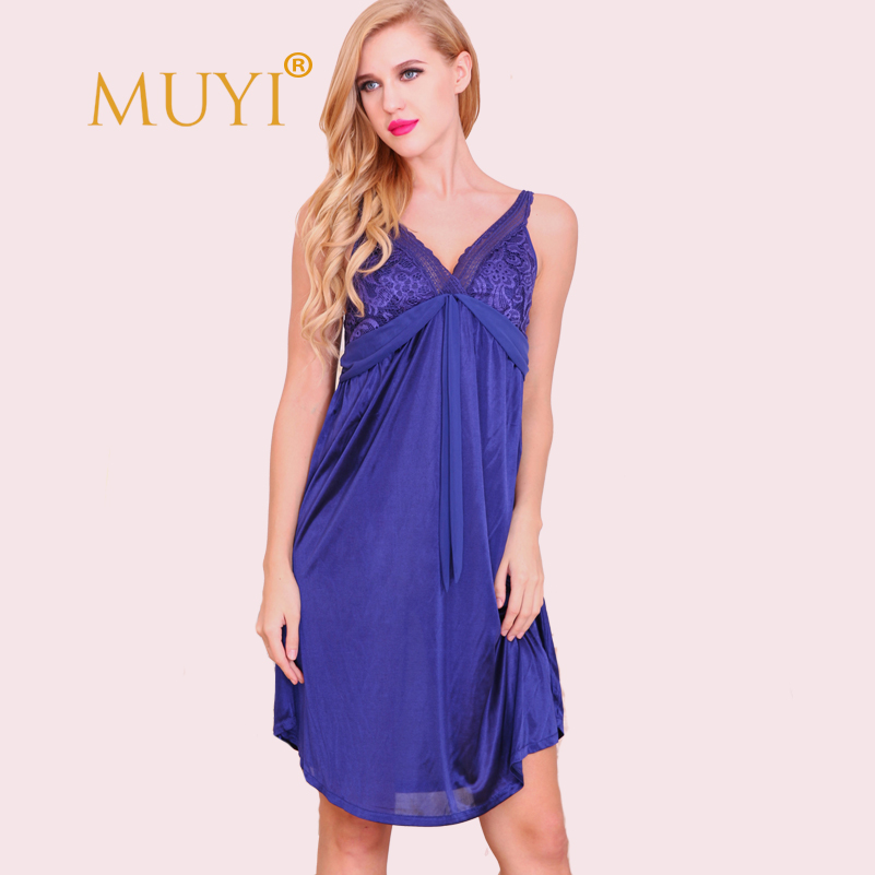Spaghetti Strap Lace   Nightgowns     Sleepshirts   Women Nightwear Sexy Sleepwear Dress V Neck Night Dress Babydoll Plus Size 2017 Hot