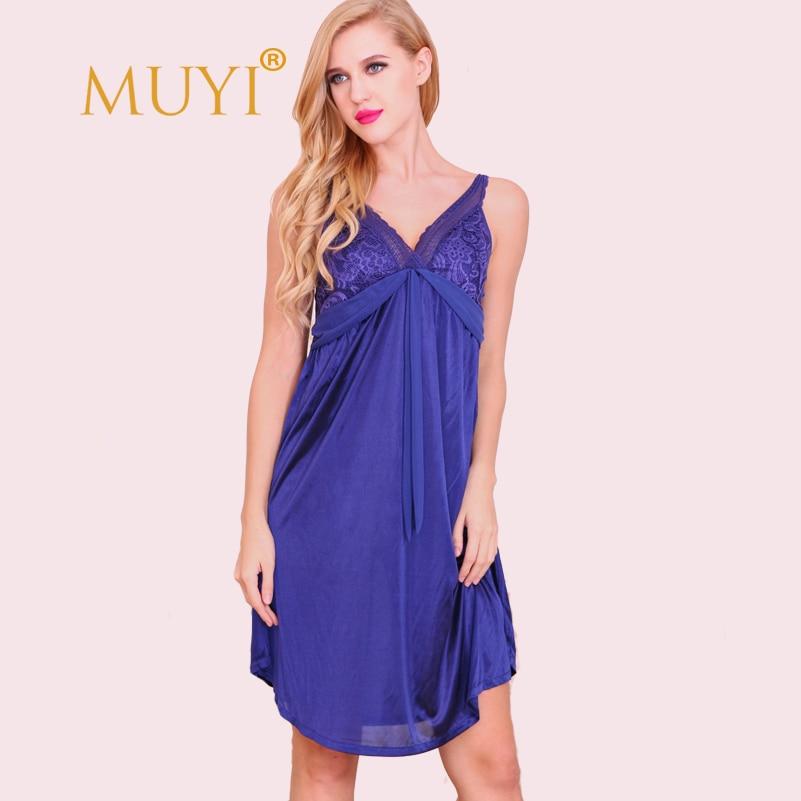 Spaghetti Strap Lace   Nightgowns     Sleepshirts   Women Nightwear Sexy Sleepwear Dress V Neck Night Dress Babydoll Plus Size 2017 Hot