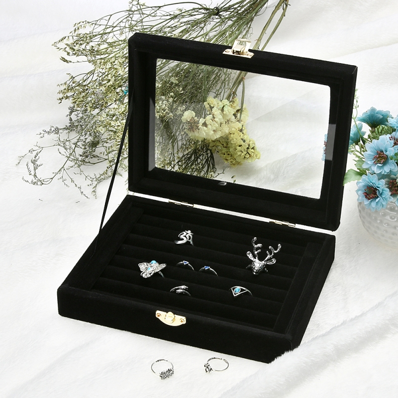 Fashion Ring Earrings Jewelry Box Display Storage Velvet Jewelry Case Casket Glass Cover Jewelry Organizer Holder RackFashion Ring Earrings Jewelry Box Display Storage Velvet Jewelry Case Casket Glass Cover Jewelry Organizer Holder Rack