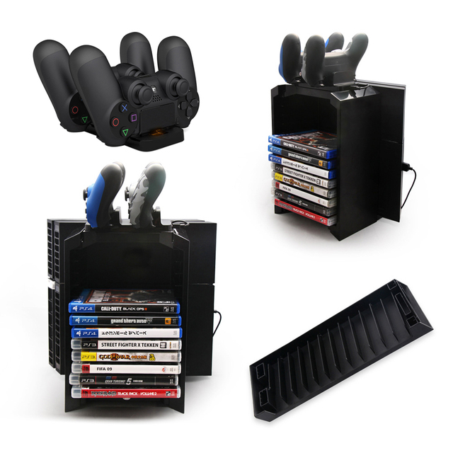 Multifunctional Gaming Movie Disks Storage Tower Bracket Dual Game Controller Charging Dock Station Stand Holder For PS4