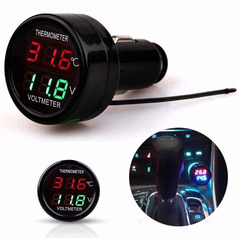 2 In 1 DC 12V 24V LED Digital Display Waterproof Car Voltmeter Thermometer Temperature Meter Monitor Voltage Cigarette Lighter