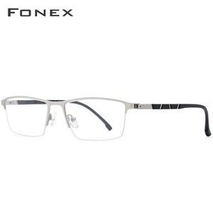 Image 2 - Legierung Gläser Rahmen Männer Ultraleicht Halben Platz Myopie Brillen 2019 Heißer Silikon Optische Rahmen Schraubenlose Brillen