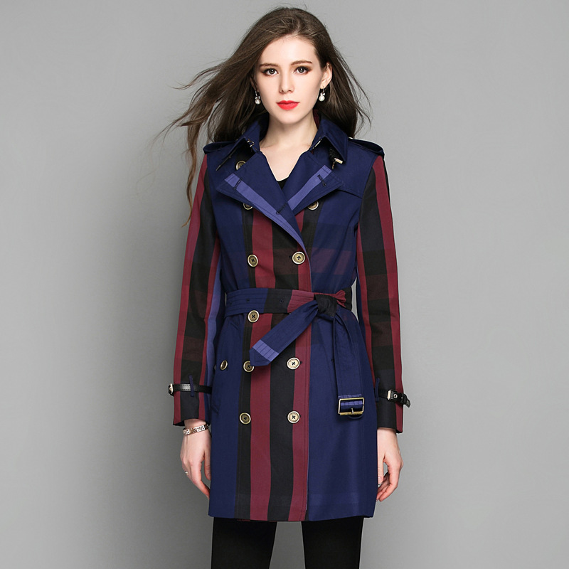 2018 New Spring Long Trench Coat For Women Plus Size Plaid Double Breasted Trench Coat