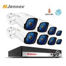 Jennov H.264 + HD טלוויזיה במעגל סגור מצלמה מערכת NVR ערכת מעקב וידאו אבטחת אודיו מצלמה מערכת 5MP IP מצלמת סט מתכת עמיד למים