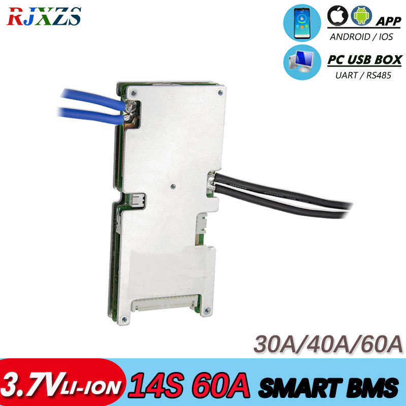 BMS 14S 30A/40A/60A Active Bms 48V New Li-ion Smart Bms Pcm With Android Bluetooth App UART  Bms Wi Software (APP) Monitor