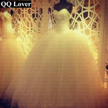 Ball-Gown Wedding-Dress Qq-Lover Luxury Robe-De-Mariage White Princess Bling Crystal