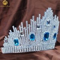 Amazing Wedding Bridal Tiara Diadem Beauty Pageant Large Crown Blue Austrian Rhinestones Headband Fashion Jewelry