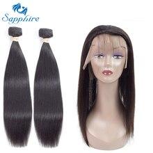 Сапфир прямо Реми Человеческие волосы Связки с 360 Накладные пряди на кружеве для передней части головы Накладные волосы 1B # Цвет для волос Salon соотношение длинные волосы РСТ 25%