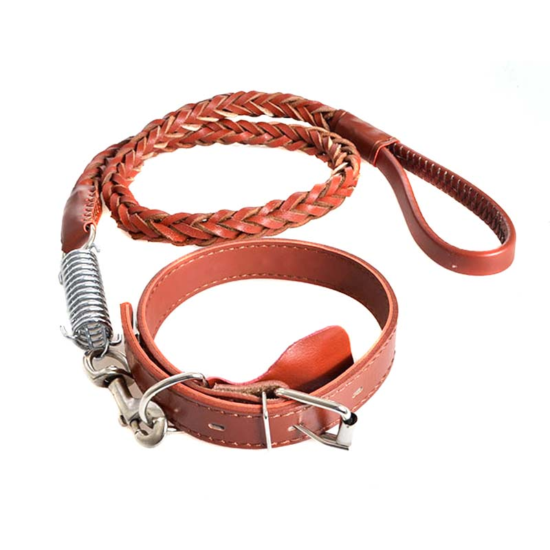 Newly PU Leather Adjustable Wide Braided Pet Collar Traction Rope Dog Training Walking Leash Strap Harness Lead