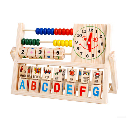 Permalink to 24 cm wooden early education toy for baby learning math, English alphabet, word and clock, kid learning education free shipping