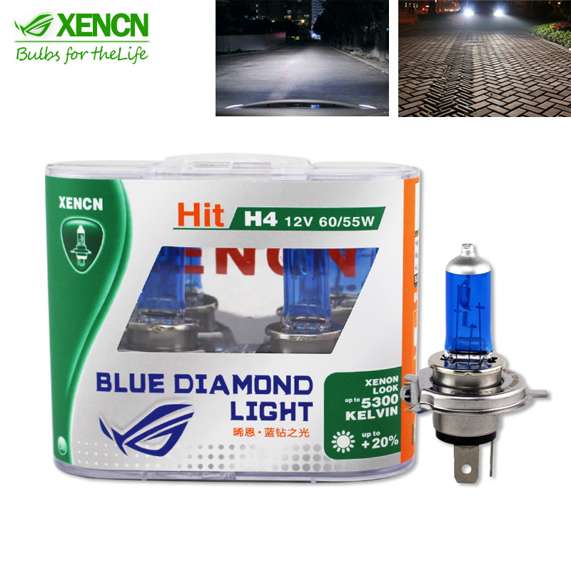XENCN H4 12V 60 55W 5300K Xenon Blue Diamond Car Light More Bright UV Filter Halogen