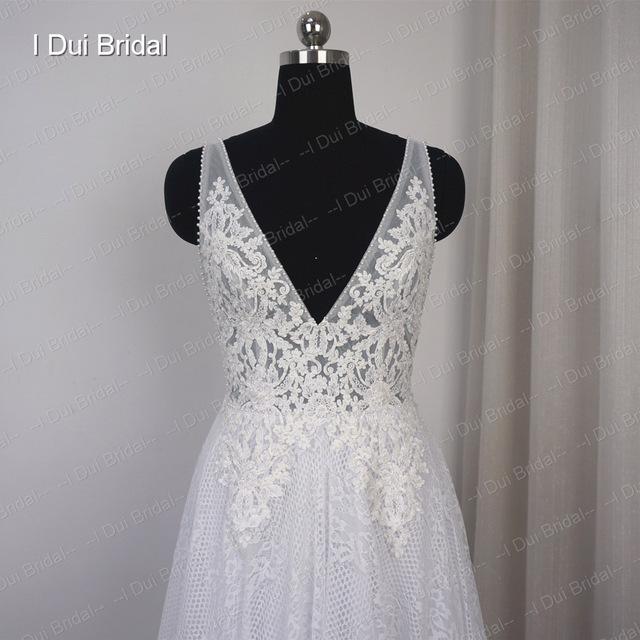 V Neck Wedding Dresses A line Sexy Bohemia Beach Bridal Gown Drop Ship