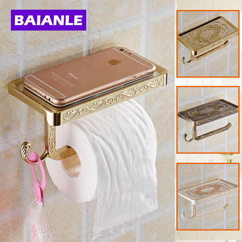Free Shipping Antique Carving Toilet Roll Paper Rack Wiht Phone Shelf Wall Mounted Bathroom Paper Holder And Hook