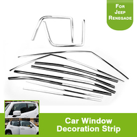 10Pcs Chrome Stainless Steel Door Window Sill Belt Trims Molding Strip Car Styling Fit For Jeep