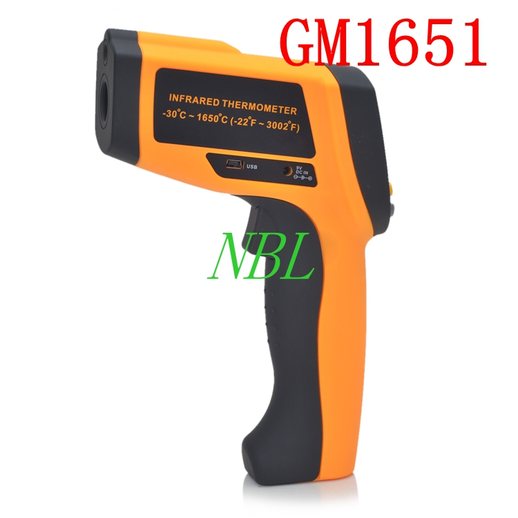 50:1 GM1651 LCD Infrared Thermometer Non-Contact Digital Laser Temperature Meter Gun Tester Range -30~1650 Degree цена