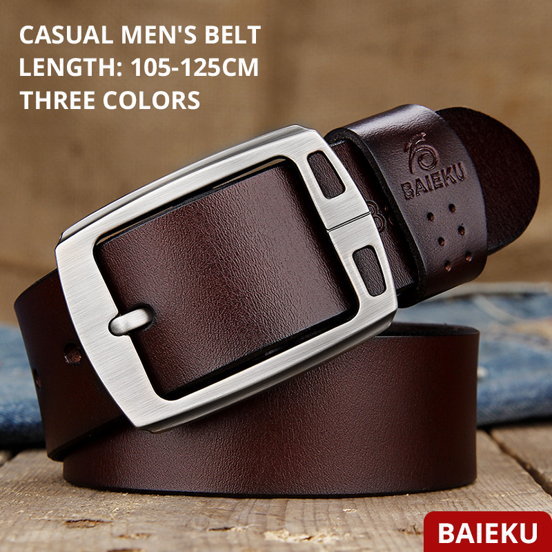 Image 2 - genuine cowhide leather belts for men brand Strap male pin buckle fancy vintage jeans cintos  BAIEKU 2018 NEW-in Men's Belts from Apparel Accessories on AliExpress