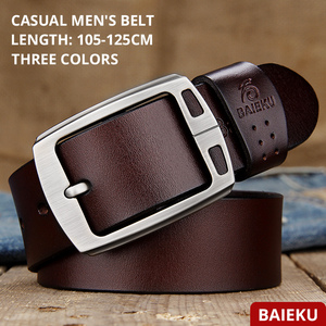 Image 2 - genuine cowhide leather belts for men brand Strap male pin buckle fancy vintage jeans cintos  BAIEKU 2018 NEW