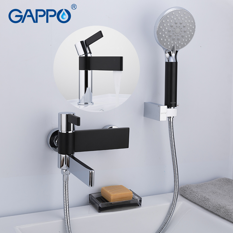 Bathroom Hand Shower Faucets Set Chrome/&Black Wall Mounted Mixer Bathtub Tap