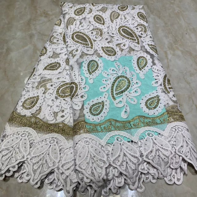 White Nigerian Lace Fabric For Party Dress 2019 Latest Design Cotton African Lace Fabrics French Swiss Voile Lace 5 Yards